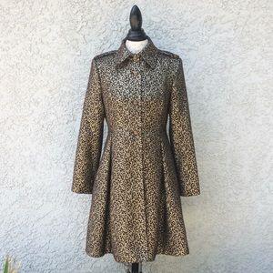 Alice + Olivia Leopard Polka Dot Pleat Trench Coat